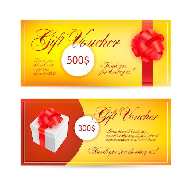 Plantillas de cupones con cintas de lazo rojo. Vector Premium