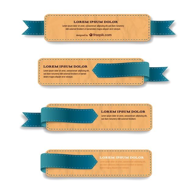 Plantillas de etiquetas con textura de cuero | Descargar Vectores gratis