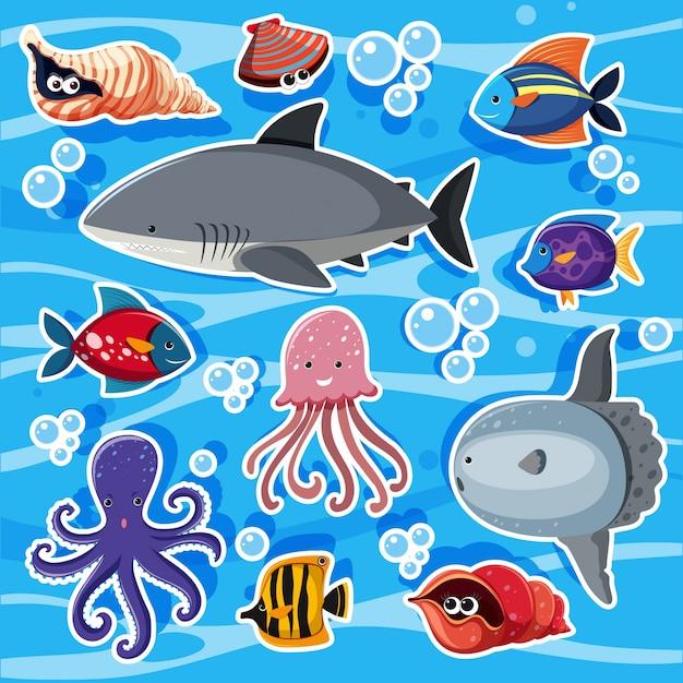 Plantillas de pegatinas con animales marinos bajo el agua for Pegatinas de peces
