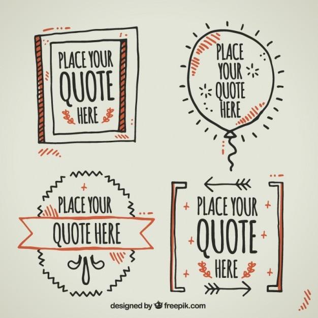 Plantillas dibujadas a mano para escribir citas | Descargar Vectores ...