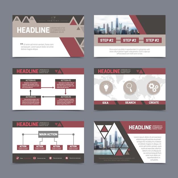Plantillas de diseño de informes y presentación en papel con elementos abstractos. vector gratuito