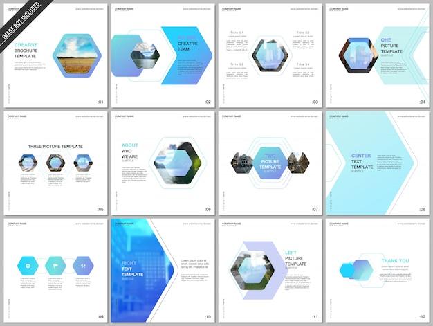 Plantillas de folleto mínimas con diseño hexagonal colorido Vector Premium