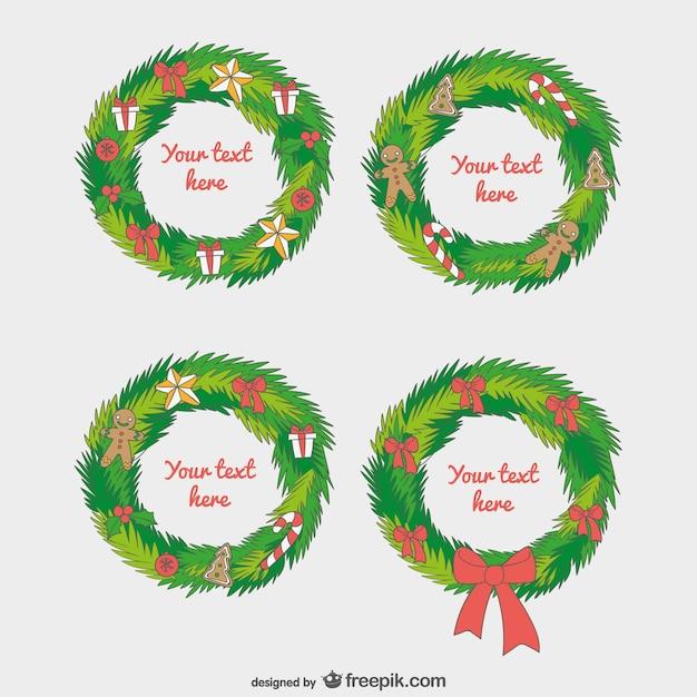 plantillas guirnalda de navidad vector gratis - Guirnaldas De Navidad