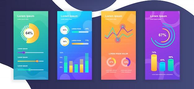 Plantillas de historias de redes sociales con visualización de datos de elementos infográficos Vector Premium