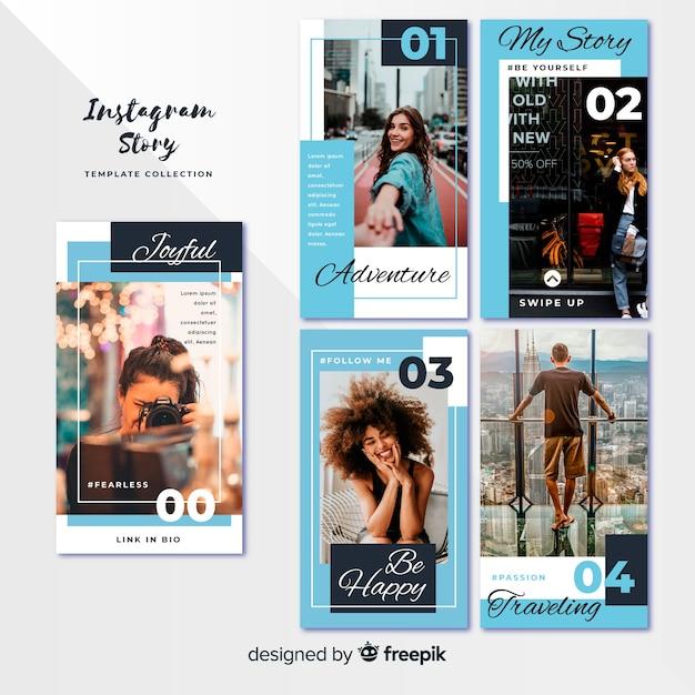 Plantillas de instagram stories con marcos vacíos vector gratuito