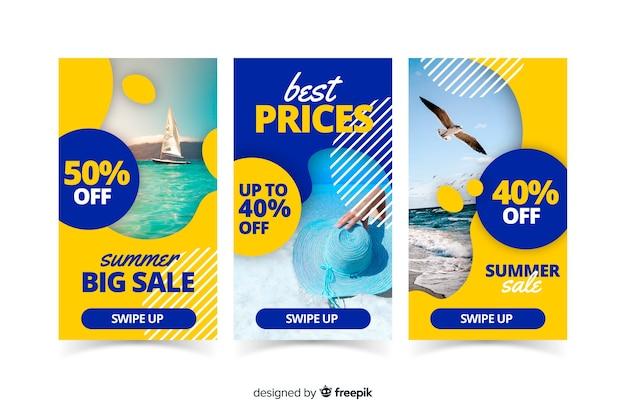 Plantillas de instagram stories de rebajas de verano vector gratuito