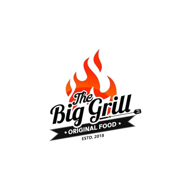 Plantillas de logo hot grill Vector Premium