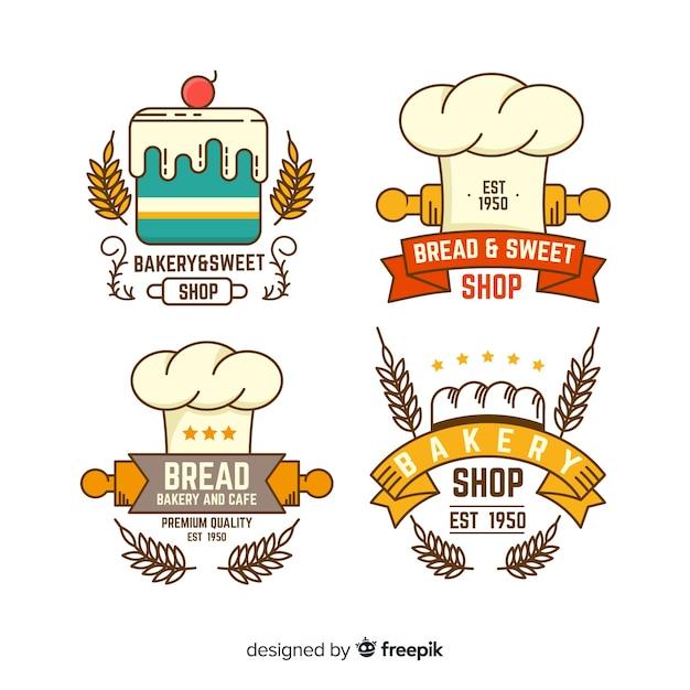 Plantillas de logos de panadería en diseño plano vector gratuito