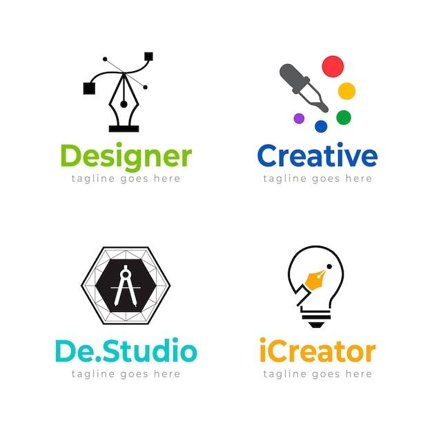 Plantillas de logotipos de diseñadores gráficos planos vector gratuito