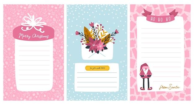 Plantillas navideñas para listas y cartas de santa. marco para texto con una regla. ilustración de personaje lindo Vector Premium