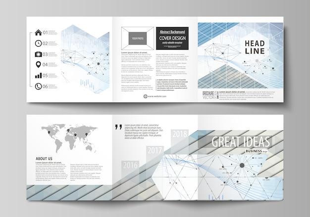 Plantillas de negocio para trípticos de diseño de folletos cuadrados. Vector Premium