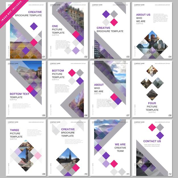 Plantillas de portada creativas con cubos de colores, resumen geométrico moderno Vector Premium