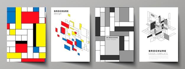 Plantillas de portada modernas de formato a4 para folleto, fondo abstracto poligonal Vector Premium