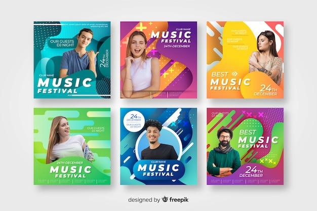 Plantillas de posters de festival de música con imagen vector gratuito