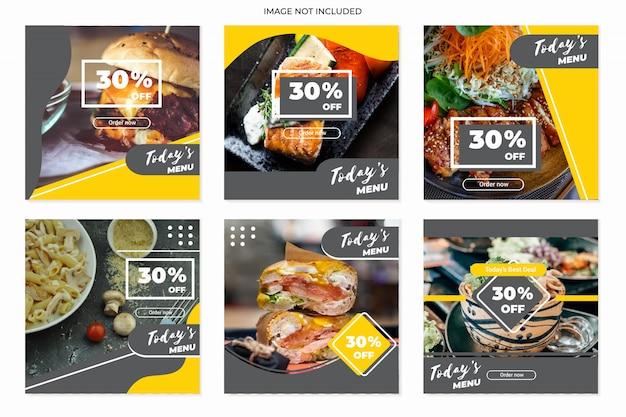 Plantillas de publicaciones culinarias en redes sociales Vector Premium
