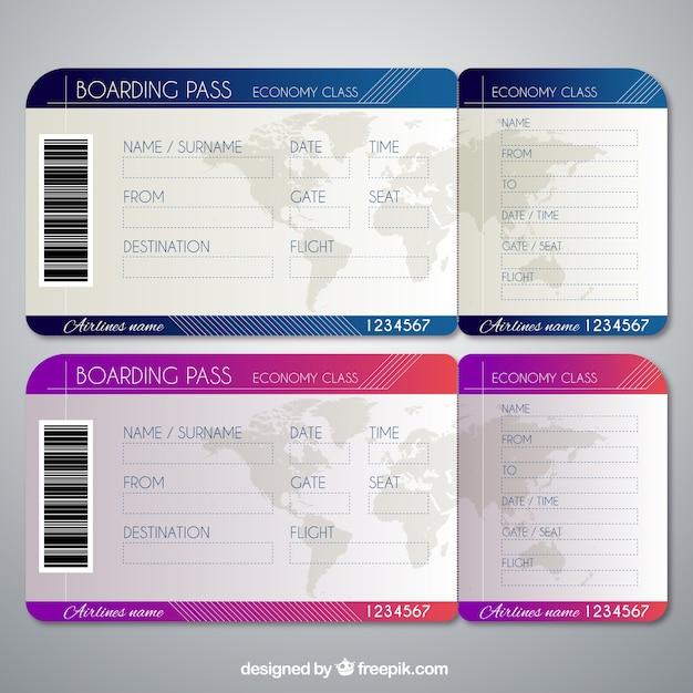 Plantillas realistas de tarjetas de embarque | Descargar Vectores ...