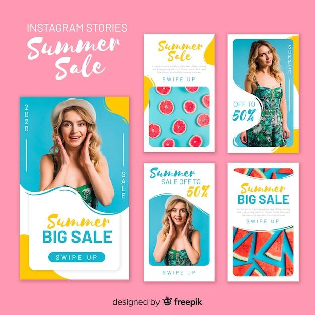 Plantillas de stories de instagram de compras veraniegas vector gratuito