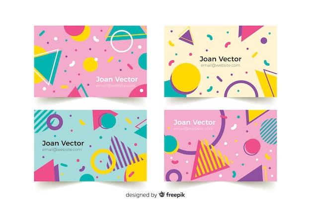 Plantillas de tarjeta de visita en estilo memphis vector gratuito