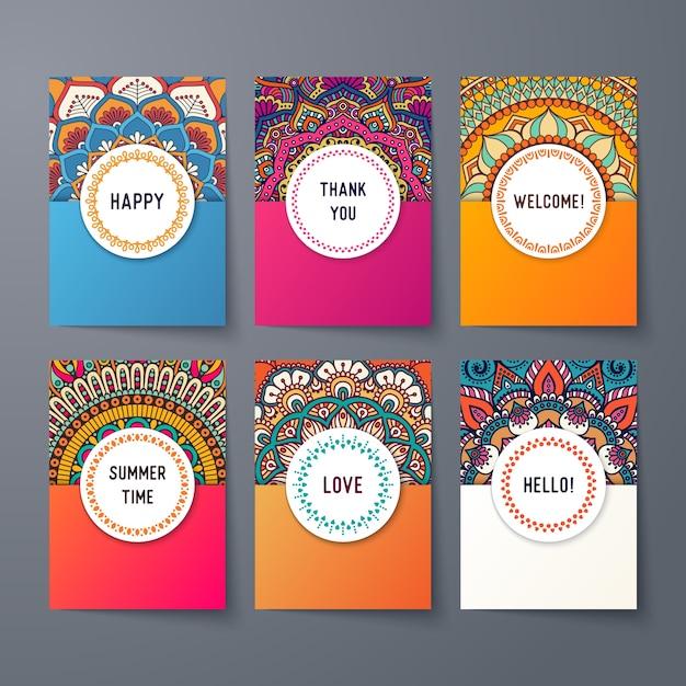 Plantillas de tarjetas étnicas vector gratuito