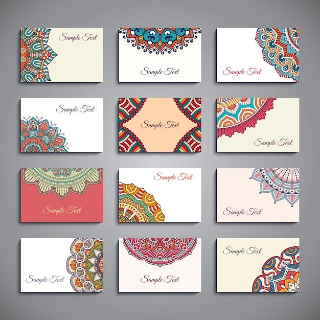 Plantillas de tarjetas con mandalas descargar vectores - Plantilla mandala pared ...