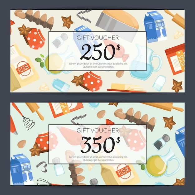 Plantillas de tarjetas de regalo o de regalo de ingridients o comestibles para cocinar Vector Premium