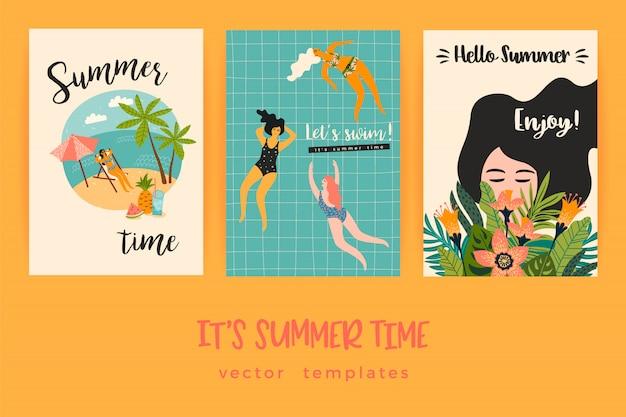 Plantillas del vector con la ilustración de verano divertido. Vector Premium