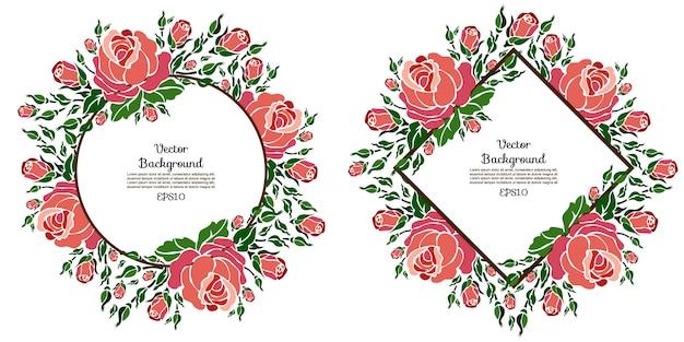 Plantillas de vectores florales con rosas Vector Premium