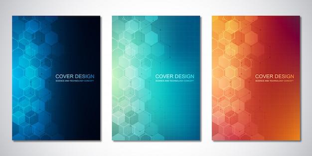 Plantillas de vectores para portada o folleto, con patrón de hexágonos. fondo de alta tecnología de estructuras moleculares e ingeniería química. concepto de ciencia y tecnología. Vector Premium
