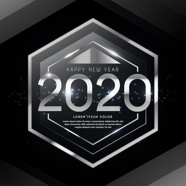 Plata año nuevo 2020 vector gratuito