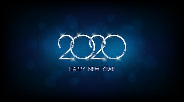 Plata feliz año nuevo 2020 con bokeh abstracto y patrón de destello de lente en fondo vintage color azul Vector Premium
