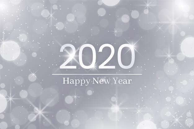 Plata feliz año nuevo 2020 vector gratuito