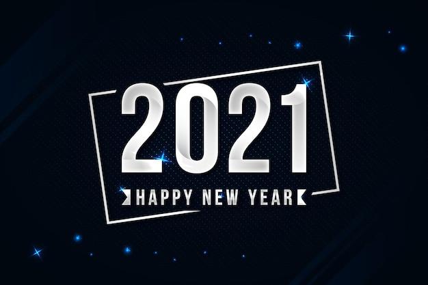 Plata feliz año nuevo 2021 Vector Premium