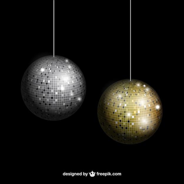 Plata y oro bolas de discoteca descargar vectores premium - Bola de discoteca ...