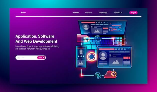Plataforma multiplataforma de desarrollo de interfaz de usuario y software. Vector Premium