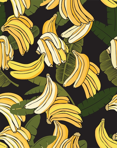 Plátano amarillo patrón negro Vector Premium