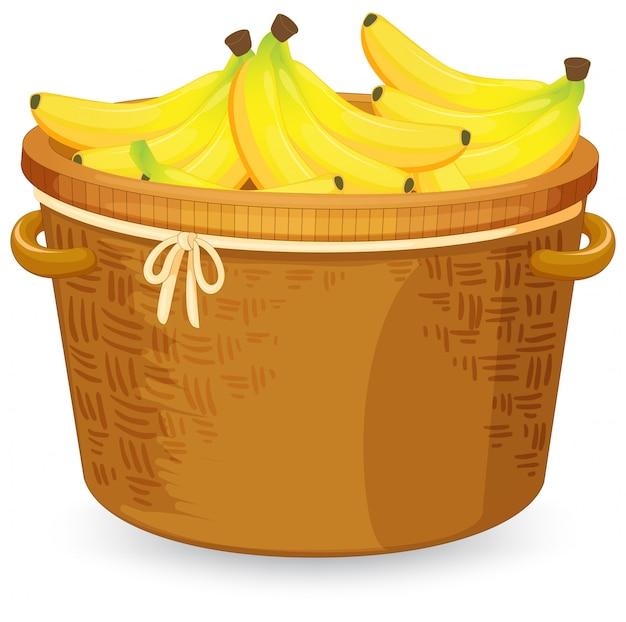 Plátano en la cesta vector gratuito