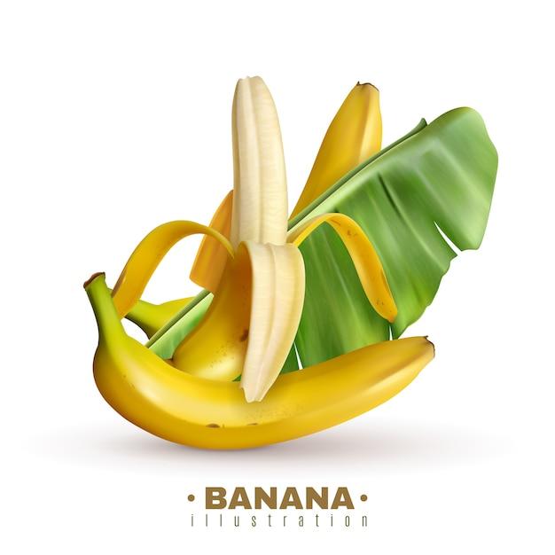 Plátano realista con texto editable e imágenes realistas de frutas de plátano con cáscara y hojas vector gratuito