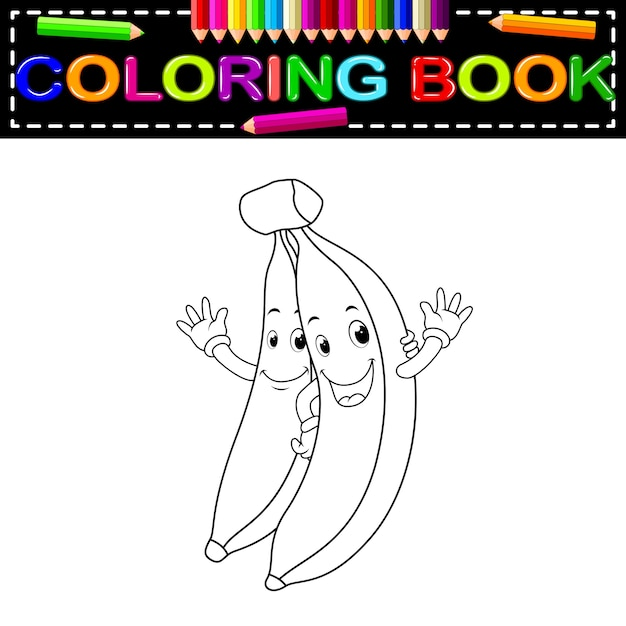 Plátanos Con Cara Para Colorear Libro Vector Premium