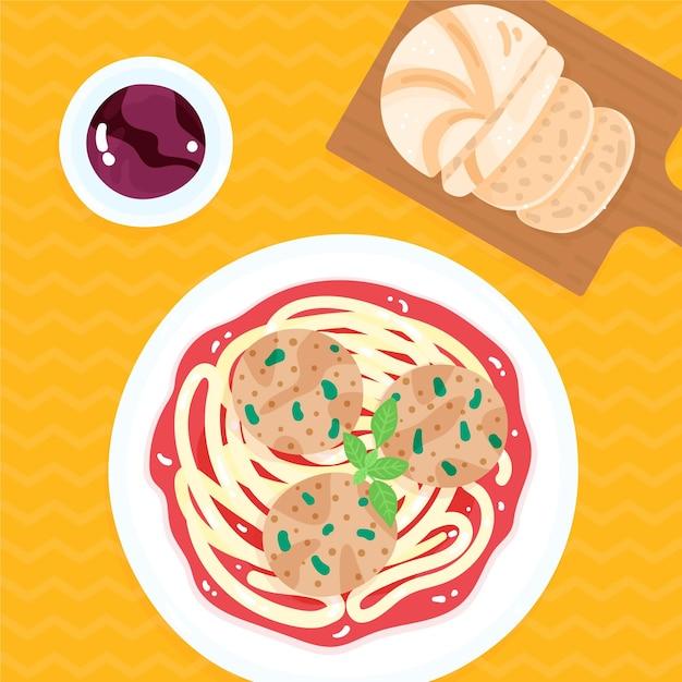 Plato con espagueti y albóndigas vector gratuito