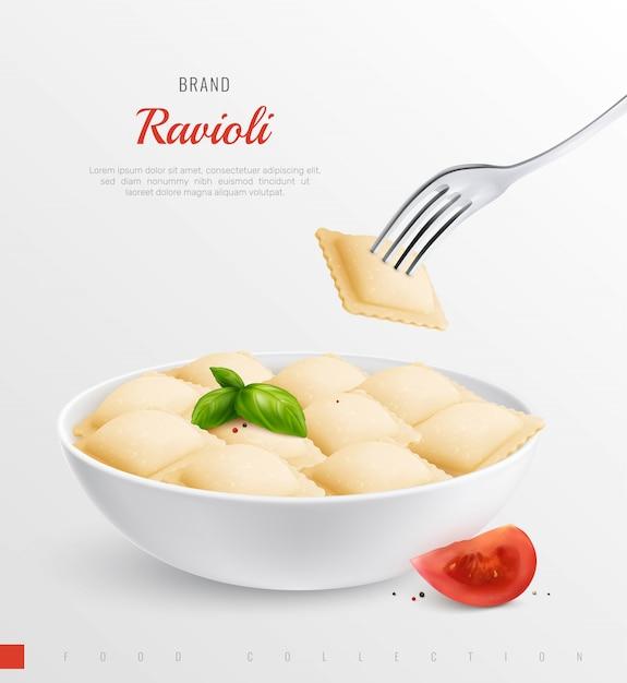 Plato de ravioles como plato nacional tradicional de composición realista menú italiano vector gratuito