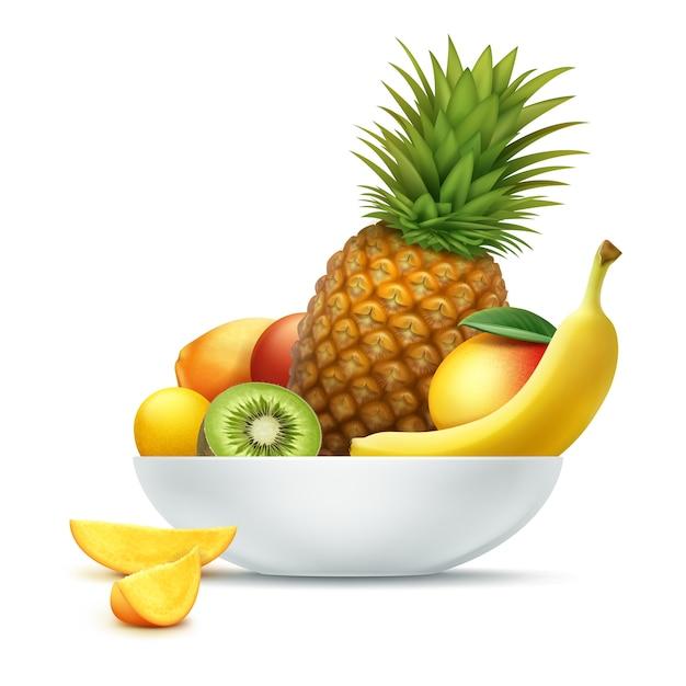 Plato de vector lleno de frutas tropicales piña, kiwi, mango, papaya, plátano aislado sobre fondo blanco. vector gratuito