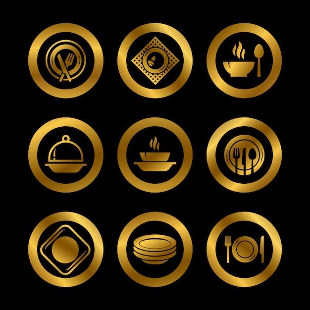 Platos de cocina y cubiertos logotipos dorados aislados Vector Premium