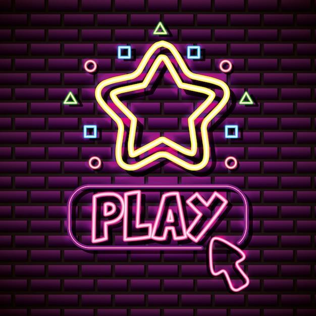 Play and stars en estilo neón, videojuegos relacionados vector gratuito