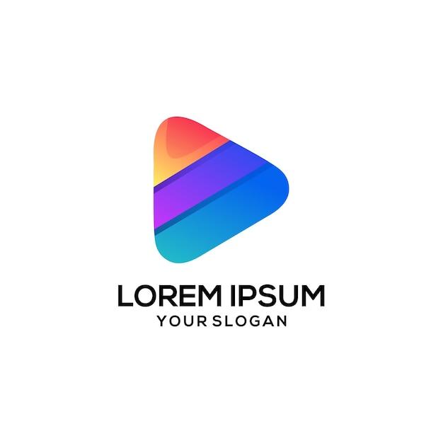 Play diseño de logo Vector Premium
