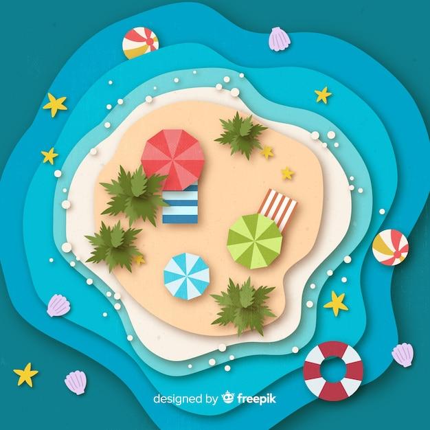 Playa en estilo papel vector gratuito