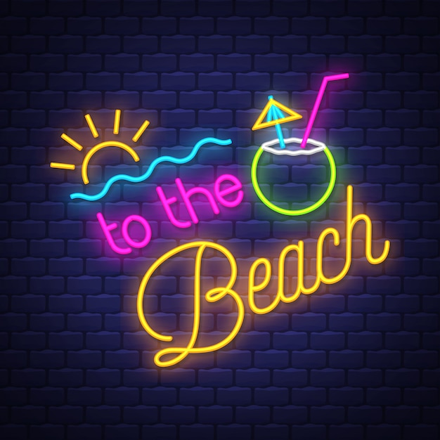 A la playa, letrero de neón, letras. Vector Premium