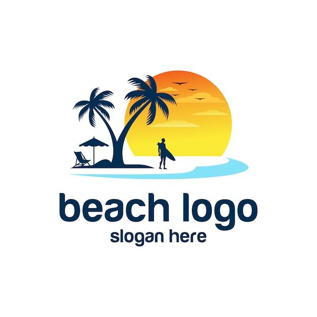 Playa logo vectores Vector Premium