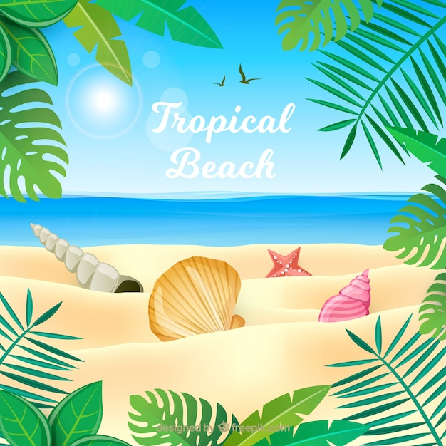 Playa tropical adorable con diseño plano vector gratuito