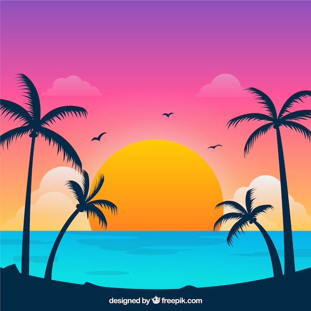 Playa tropical paradisíaca con puesta de sol adorable vector gratuito