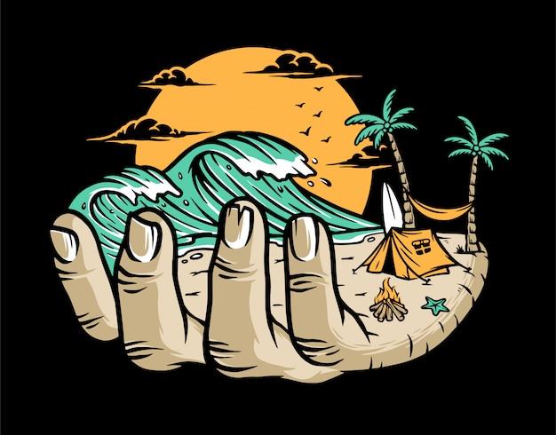 Playa en tu mano ilustración Vector Premium